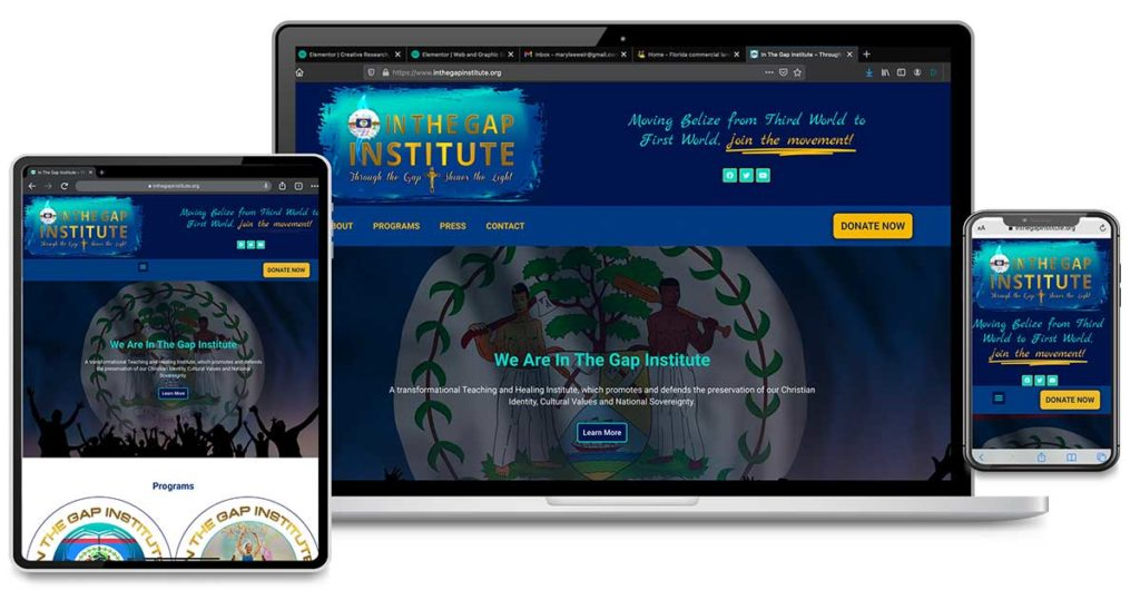 Website Design, Graphic Design, Search Engine Marketing and Search Engine Optimization for In The Gap Institute, Belize, Central America
