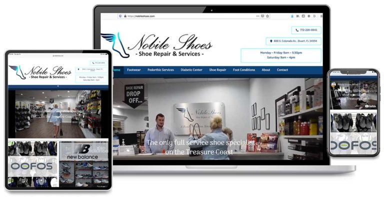 Custom Website Design, Custom Website Development, Graphic Design for Nobile Shoes