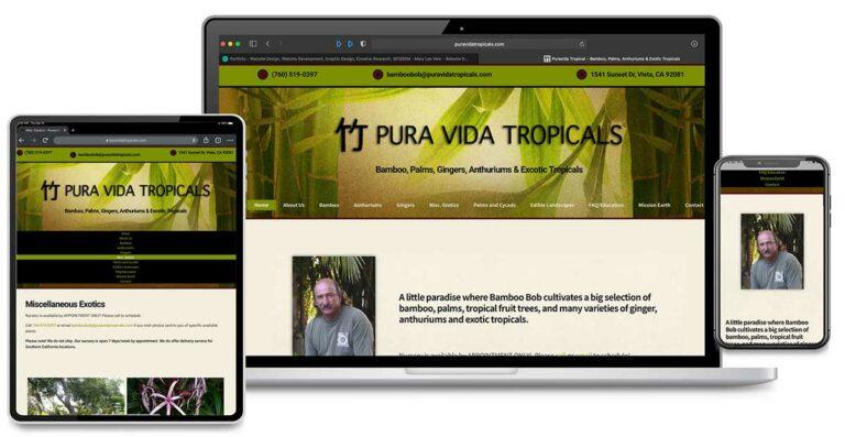 Search Engine Marketing, Search Engine Optimization, Website Design and Graphic Design for PuraVida Tropicals, Vista, California