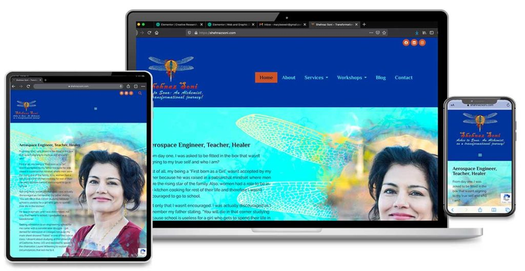 Graphic Design and Website Design for Shehnaz Soni